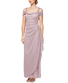 Cold-Shoulder Draped Metallic Petite Gown