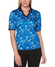 Floral-Print Keyhole-Sleeve Golf Polo