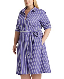 Plus-Size Belted Cotton Shirtdress