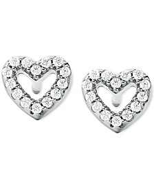 Sterling Silver Pavé Open Heart Stud Earrings