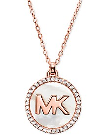"""Sterling Silver Cubic Zirconia & Mother-of-Pearl Logo Pendant Necklace, 16"""" + 2"""" extender"""