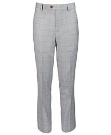 Big Boys Classic-Fit Gray Windowpane Suit Pants