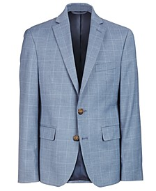 Big Boys Classic-Fit Blue Windowpane Suit Jacket