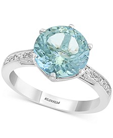 EFFY® Aquamarine (3-1/3 ct .t.w.) & Diamond (1/6 ct. t.w.) Ring in 18k White Gold