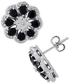 Onyx & Diamond (1/20 ct. t.w.) Floral Stud Earrings in Sterling Silver