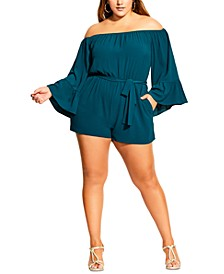 Trendy Plus Size Romantic Playsuit