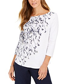 Printed Boat-Neck Pima Cotton Top, Created for Macy's