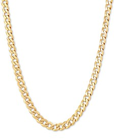 "Flat Curb Link 18"" Chain Necklace in 18k Gold-Plated Sterling Silver"