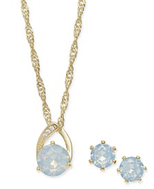 Gold-Tone 3-Pc. Set Cubic Zirconia & Crystal Pendant Necklace & Stud Earrings, Created for Macy's