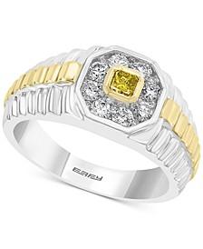EFFY® Men's Diamond Halo Two-Tone Ring (5/8 ct. t.w.) in 14k Gold & White Gold
