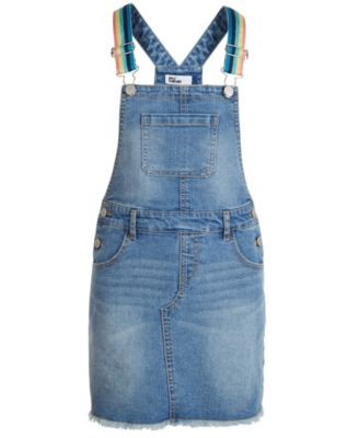 Big Girls Rainbow-Strap Denim Skirtall, Created for Macy's