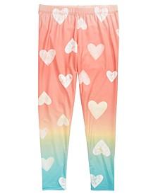 Big Girls Ombré Heart-Print Leggings, Created for Macy's