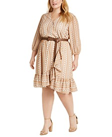 Plus Size Printed Faux-Wrap Belted Dress