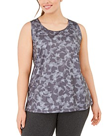 Plus Size Camo-Print Mesh-Back Tank Top, Created for Macy's