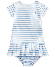 Baby Girls Striped Jersey Dress & Bloomer