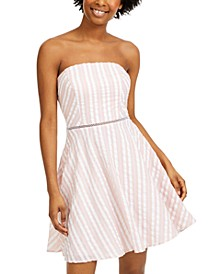 Juniors' Striped Strapless Dress