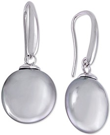 Sterling Silver Imitation Pearl Coin Drop Earrings