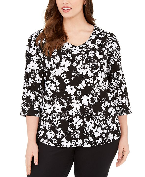 Adrienne Vittadini Plus Size 3/4-Sleeve Top