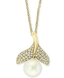 "EFFY® Cultured Freshwater Pearl (7mm) & Diamond (1/5 ct. t.w.) Whale Tail 18"" Pendant Necklace in 14k Gold"