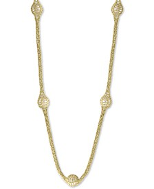 "EFFY® Cultured Freshwater Pearl (13mm) Lace 22"" Statement Necklace in 18k Gold-Plated Sterling Silver"