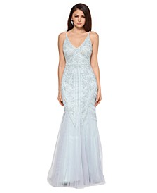 Allover-Beaded V-Neck Gown