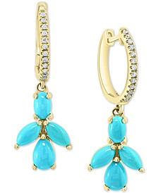 EFFY® Turquoise Cluster & Diamond (1/10 ct. t.w.) Dangle Drop Earrings in 14k Gold
