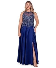 Plus Size Embroidered Tulip Gown