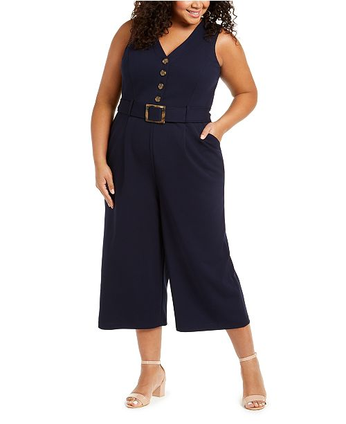 Calvin Klein Plus Size Cropped Jumpsuit