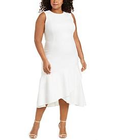 Plus Size Ruffled High-Low Midi Dress