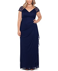 Plus Size Lace-Shoulder Gown