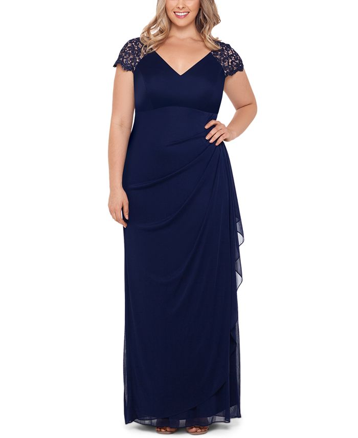XSCAPE - Plus Size Lace-Shoulder Gown