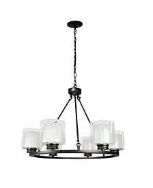 Canyon Home 6 Bulb Wagon Wheel Light Fixture with Glass Shades