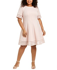 Plus Size Illusion-Inset Fit & Flare Dress