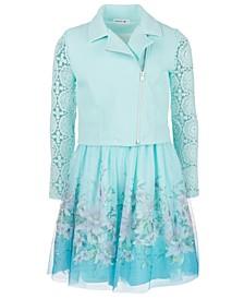 Big Girls 2-Pc. Lace-Sleeve Moto Jacket & Belted Dress Set