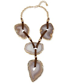 """Gold-Tone Stone Statement Lariat Necklace, 16"""" + 2"""" extender"""