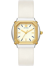 Women's Blake White Leather Strap Watch 34mm