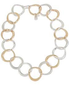 "Two-Tone Sculptural Circle 18"" Collar Necklace"