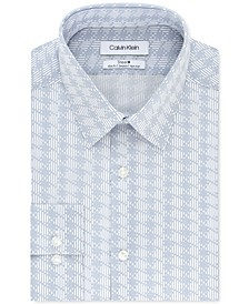 Calvin Klein Men's STEEL+ Slim-Fit Non-Iron Performance Stretch Navy Print Dress Shirt