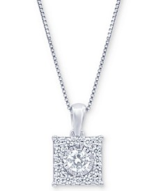 "Diamond Square Halo 18"" Pendant Necklace (1/3 ct. t.w.) in 14k White, Yellow or Rose Gold"