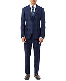 Men's Slim-Fit Blue Plaid Linen Suit Separates