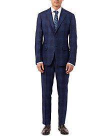 Tallia Men's Slim-Fit Blue Plaid Linen Suit Separates