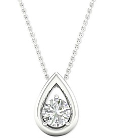 "Diamond Solitaire Teardrop Pendant Necklace (1/3 ct. t.w.) in 14k White Gold, 16"" + 2"" extender"