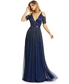 Beaded Cold-Shoulder Gown