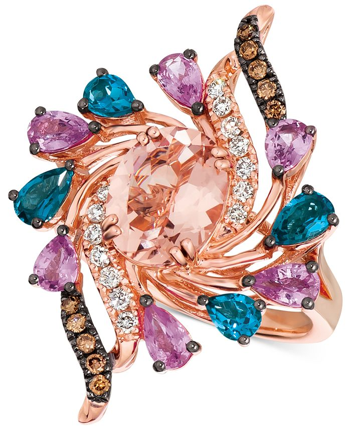 Le Vian - Multi Gemstone (3 1/2 ct. t.w.) and Diamond (1/3 ct. t.w.) Ring in 14k Rose Gold