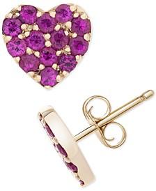 Certified Ruby (1/5 c.t. t.w.) Heart Stud Earrings in 14k Gold