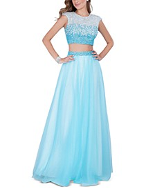 Juniors' Two-Piece Beaded Top & Skirt Gown