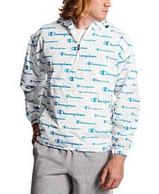 Men's Logo-Print Half-Zip Packable Windbreaker