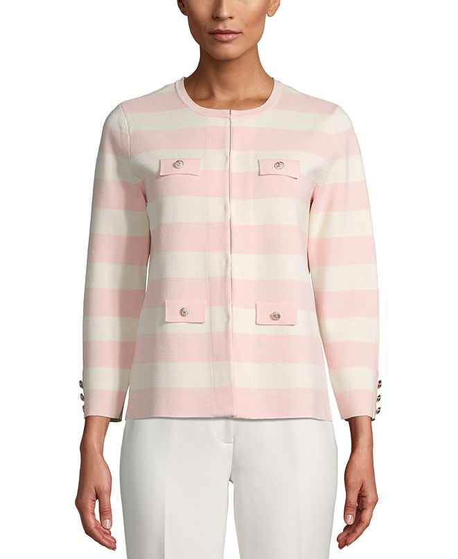 Anne Klein Striped Open-Front Cardigan