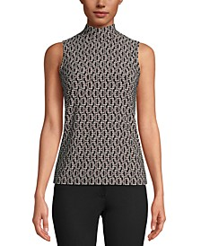 Printed Sleeveless Mock-Neck Top