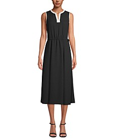 Split-Neck Drawstring-Waist Dress